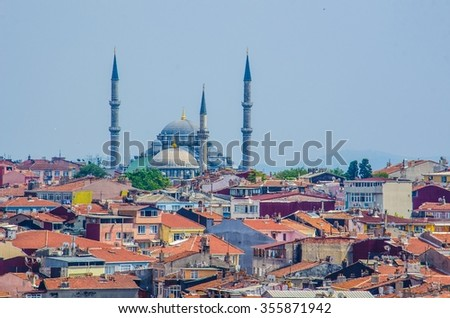 aerial view of blue mosque in istanbul and its neighborhood. - stock photo