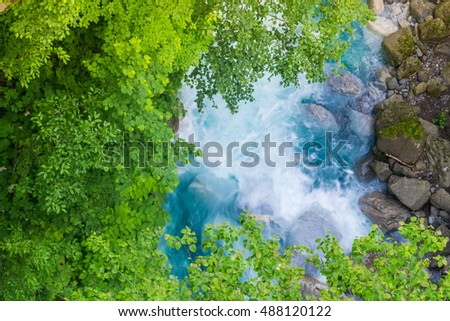 Aerial view of Blue stream from waterfall in the forest