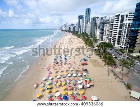 Aerial View of Boa Viagem Beach, Recife, Brazil - stock photo