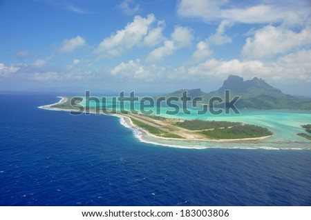 aerial view of bora bora and its islands, french polynesia - stock photo