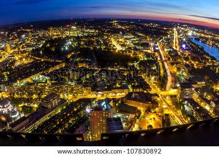 Aerial view of Boston in Massachusetts at sunset. Fisheye view of the city.