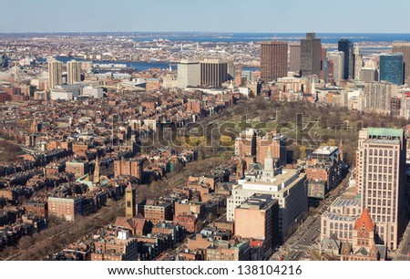 Aerial view of Boston in Massachusetts, USA on a sunny spring day.
