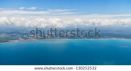 aerial view of Brazil coastline - stock photo