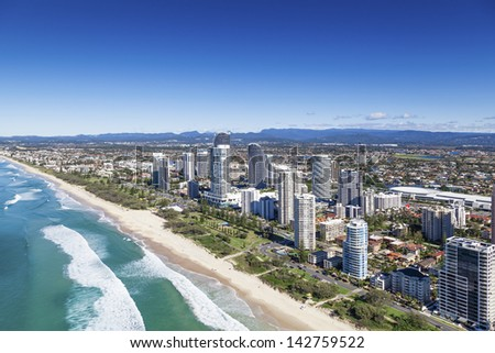 Aerial view of Broadbeach on the Gold Coast, Queensland, Australia - stock photo