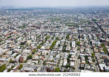 Aerial view of  Brooklyn, New York City, U.S.A. - stock photo
