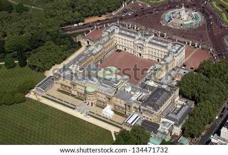Aerial view of Buckingham Palace in London - stock photo