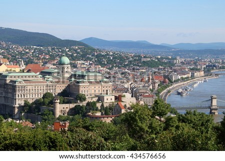 Aerial view of Buda side of Budapest, with castle hill in the foreground, along Danube River - stock photo