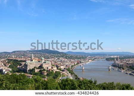 Aerial view of Budapest across Danube River, with Chain Bridge and Margaret Bridge and Hungarian Parliament Building in sight - stock photo