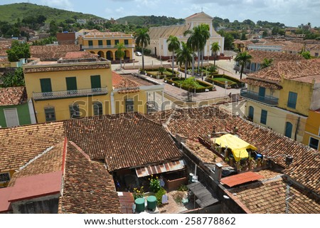 aerial view of buildings around the historic Plaza Mayor in Trinidad, Cuba - stock photo