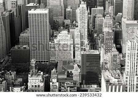 Aerial view of buildings in Mid-Manhattan, New York City. Toned. - stock photo