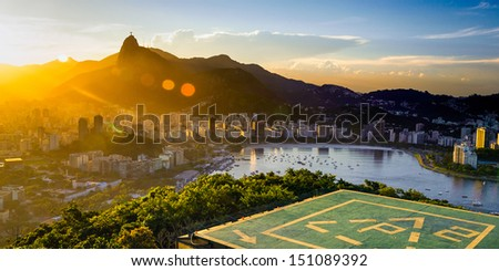 Aerial view of buildings on the beach front, Botafogo, Guanabara Bay, Rio De Janeiro, Brazil - stock photo