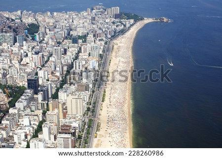 Aerial view of buildings on the beach front of Ipanema Beach in Rio de Janeiro, Brazil - stock photo
