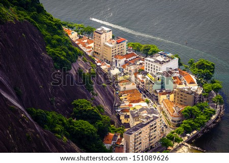 Aerial view of buildings on the coast, Urca, Rio de Janeiro, Brazil - stock photo