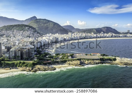 Aerial view of buildings on the Copacabana Beach in Rio de Janeiro, Brazil - stock photo