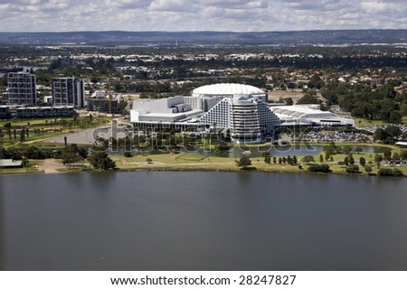 Aerial view of Burswood Entertainment Complex, Perth, Western Australia - stock photo