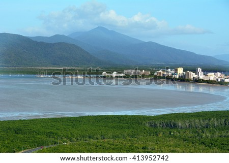 Aerial view of Cairns the tourism capital of the tropical north Queensland, Australia.   - stock photo