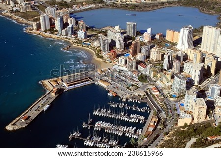 Aerial view of Calpe town and his coastline - stock photo