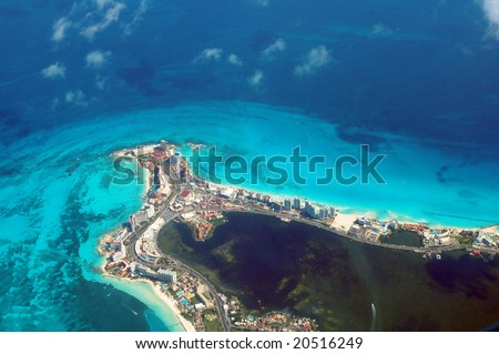 aerial view of Cancun, Mexico - stock photo