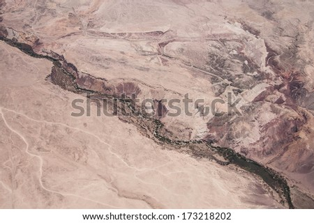 Aerial view of canyon in Atacama Desert - stock photo