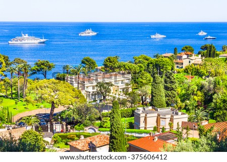 Aerial view of Cap Ferrat, French Riviera - stock photo
