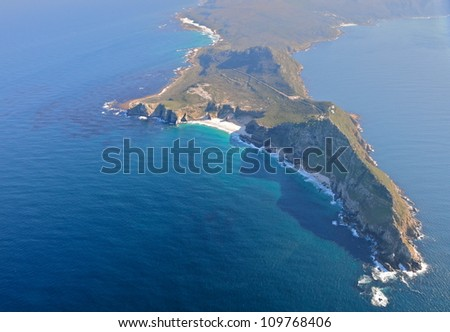 Aerial view of Cape of Good Hope, South Africa - stock photo