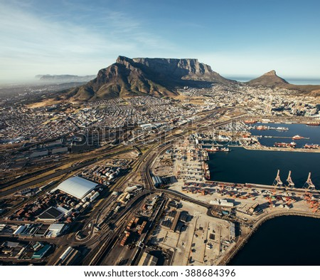Aerial view of cape town harbor. Commercial docks and shipping yards. - stock photo
