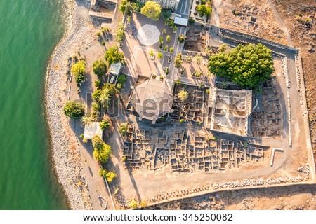 Aerial view of Capernaum, Town of Jesus, Galilee, Israel - stock photo