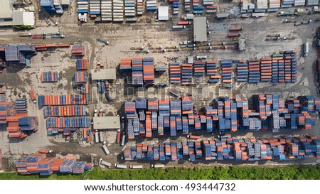 Aerial view of cargo containers piled together