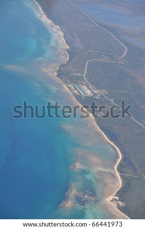 Aerial view of Cays, keys an coastline of Grand Bahama Island, Bahamas - stock photo