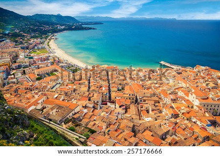 aerial view of Cefalu residential district with old houses near the sea, Sicily, Italy - stock photo