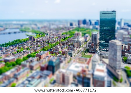 Aerial View of Central Boston and the Beacon Hill district, USA. Tilt-shift effect applied - stock photo