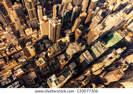 Aerial view of Central Park and Times Square, New York CIty at sunset