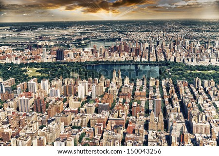 Aerial view of Central Park, Jacqueline Kennedy Onassis Reservoir and surrounding Manhattan Skyscrapers, New York.  - stock photo