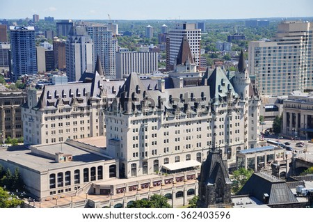 Aerial view of Chateau Laurier in downtown Ottawa, Ontario, Canada. - stock photo