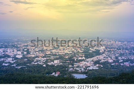 aerial view of chiangmai thailand in the morning.