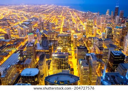 Aerial view of Chicago city and Lake Michigan - stock photo