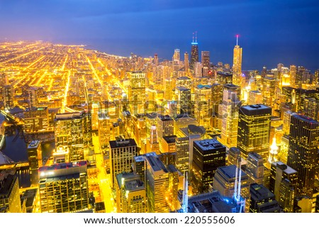 Aerial view of Chicago City downtown at dusk USA - stock photo