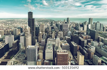 Aerial view of Chicago Downtown Skyline, skyscrapers with vintage colors