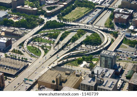 Aerial view of Chicago highways - stock photo