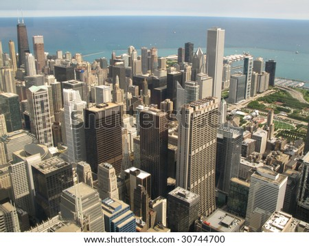 Aerial view of Chicago, Illinois looking north-east from the Sears Tower - stock photo