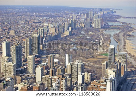 Aerial View of Chicago's northern shore - stock photo