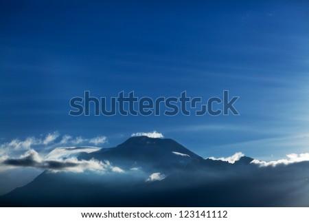 Aerial view of Chimborazo volcano in Ecuador - stock photo