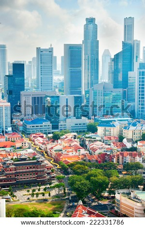 Aerial view of Chinatown and Downtown Core of Singapore  - stock photo