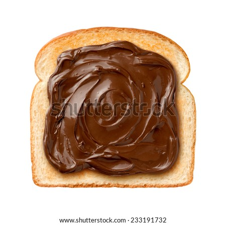 Aerial view of Chocolate Spread on a single slice of Toast. Isolated on a white background - stock photo