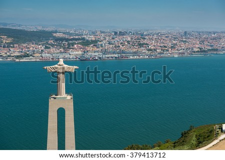 Aerial View of Christ the King Statue, Lisbon, Portugal