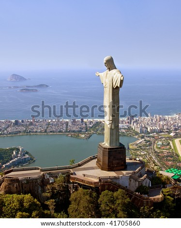 Aerial View of Christ the Redeemer Monument in Rio De Janeiro, Brazil - stock photo