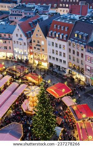 Aerial view of Christmas market (Christkindlmarkt) at the central district of Augsburg, Bavaria, Germany - stock photo