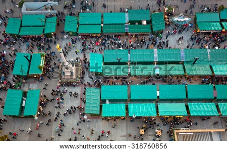 Aerial view of christmas markets in Munich, Germany - stock photo