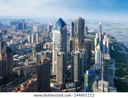 Aerial view of city - stock photo