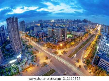Aerial view of city at night - stock photo